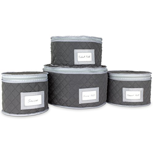 "Fine China Storage - Set of 4 Quilted Cases for Dinnerware Storage. Sizes: 12"" - 10"" - 8.5"" and 7"" Long - Gray - Quilted Fabric Container with 48 Felt Plate Separators Included"