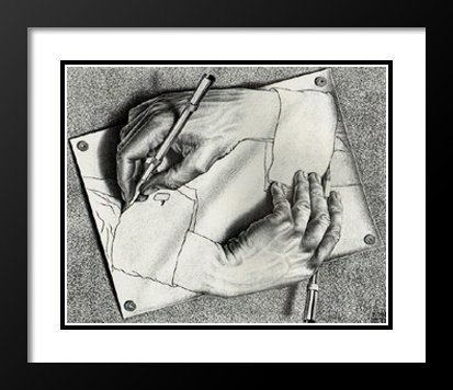 Drawing Hands 25x29 Framed and Double Matted Art Print by M.C. (Escher Drawing)