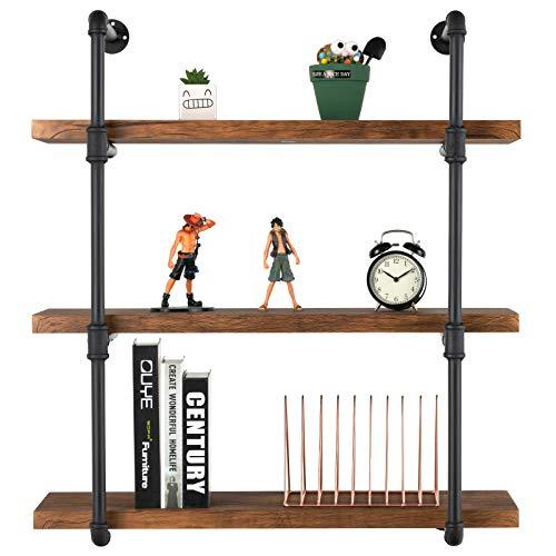 mecor Industrial Pipe Shelves with Wood 3-Tiers, Rustic Wall Mount Shelf 35.1in,Metal Hung Bracket Bookshelf,DIY Storage… 4