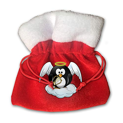 Angel Ornament Edition - Beauty Angel Penguin Print Christmas Candy Gifts Sack Santa Gift Treat Kids Drawstring Present Bag Tote Ornament Decoration Made Gold Velvet -Special Edition