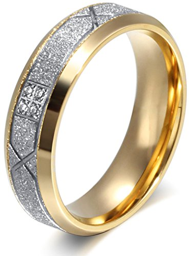 Bishilin Men's Women's Stainless Steel with Diamond Spray Yarn Fashion 6MM Rings,Size7,Silver Gold 24k Gold Vermeil Flower