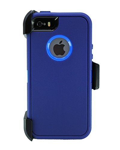 WallSkiN Turtle Series Cases for iPhone 5/5S/5SE (Only) Full Body Protection with Screen Protector & Kickstand & Holster - Midnight (Navy Blue/Blue)