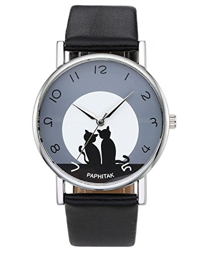 Top Plaza Womens Girls Fashion Cute Cat Pattern Round Dial Quartz Analog Watch 3ATM Waterproof