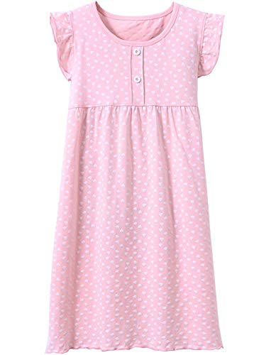 BOOPH Girls' Princess Nightgown Baby Toddler Hearts Shape Sleepwear Nightwear Dress Pink 3-4 Year -