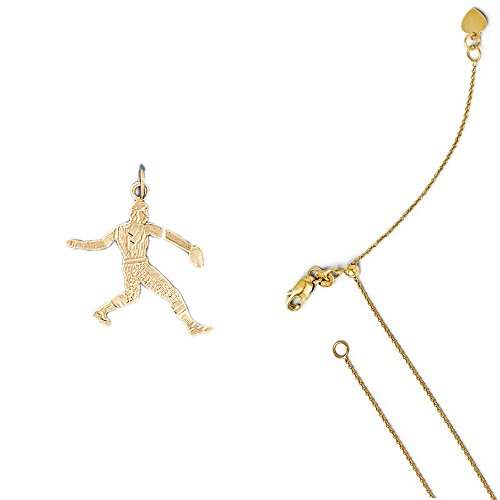 14k Baseball Player Charm - 14K Yellow Gold Baseball Player Pendant on an Adjustable Round Cable Chain Necklace, 22