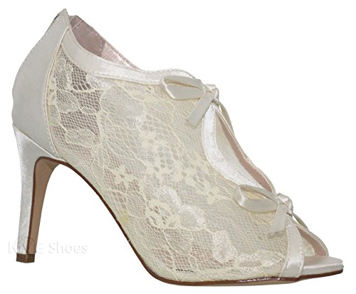 MVE Shoes Women's Lace Bridal High Heel Platform Peep Toe Shootie - Satin Lace Open Toe Cover Dress Pump - Lace High Heel Shootie with Flatback Crystals, Ivory Size 10 Satin Peep Toe Platform