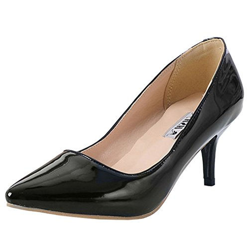 Coolcept Women Pointed Toe Court Shoes Small Heel 6 Color Black E1wQ8QL1yr