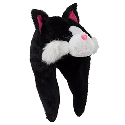 - Plush Black & White Tabby Kitty Cat Hat With Velcro Ear Flaps