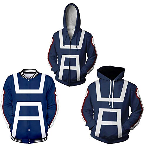 NoveltyBoy Boku No Hero Academia My Hero Academia Izuku Midoriya Cosplay Costume Training Suit Jacket Unisex Hoodies (Blue, Large) -