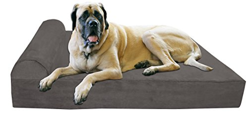 """Big Barker 7"""" Pillow Top Orthopedic Dog Bed for Large and Extra Large Breed Dogs (Headrest Edition) by Big Barker"""