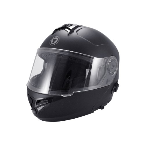 TORC T27 Full Face Modular Helmet with Integrated Blinc Bluetooth (Flat Black, Large)
