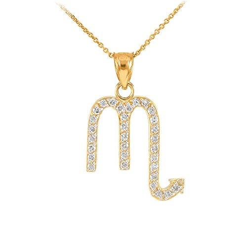 Collier Femme Pendentif 14 Ct Or Jaune Scorpion Zodiaque Signe Diamant (Livré avec une 45cm Chaîne)