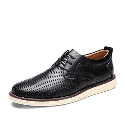 Informal Hombre Derby Mastery con Calzado Vestir Casual H Cordones Cuero Brogue Zapatos Oxford Respirable para Boda Negocios Negro de 147wCqxR
