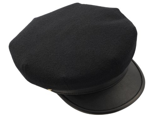 Motorcycle Hat (Sterkowski Motorcycle 8 Quarters Brando Style Cap US 7 1/8 Black)