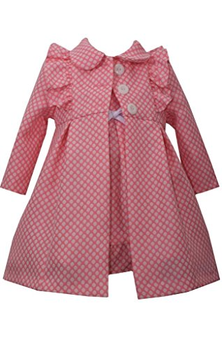 Bonnie Jean Baby Girls Dot Jacquard Ruffle Coat Set, Coral, 24 Months (Coat Jacquard Dress)