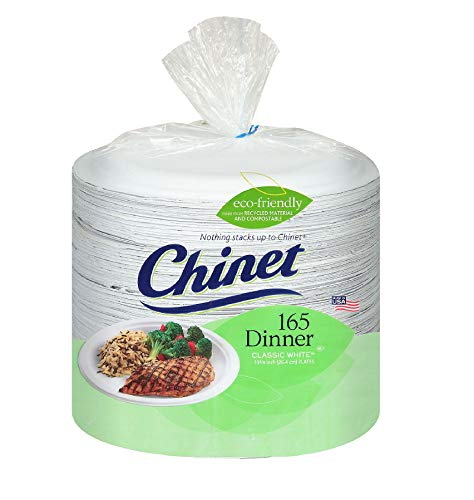 Chinet Classic White Paper Dinner Plates, 10 3/8 Inch, 165 Count (Pack of 2)