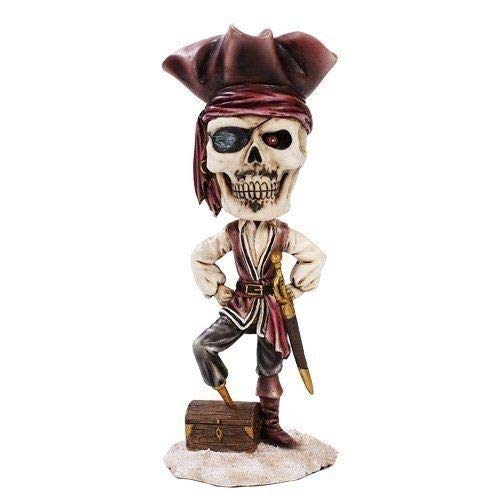 Figurine Day of The Dead Pirate and Treasure Chest Skeleton Skull ()