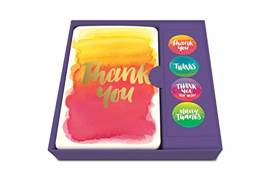 Studio Oh! Thank You Notecard Set with Stickers, Foiled Watercolor, Box of 12