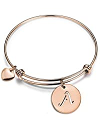 Rose Gold Initial Disc Expandable Wire Bracelet Bangle with Heart Charm