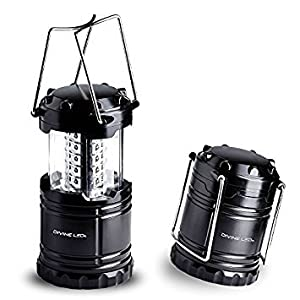 4 Pack LED Camping Lantern, Survival Kit for Hurricane, Emergency, Storm, Outages, Outdoor Portable Lantern, Black, Collapsible (Batteries Included) Vont