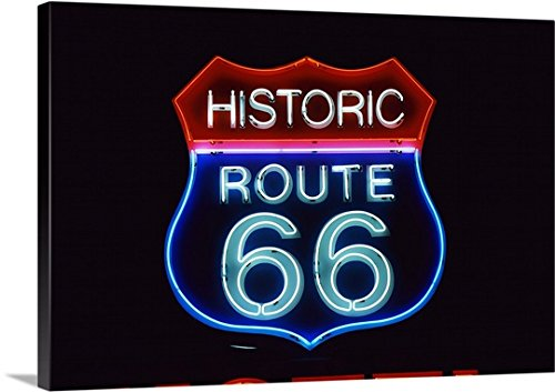 Canvas On Demand Premium Thick-Wrap Canvas Wall Art Print entitled Neon Route 66 Sign
