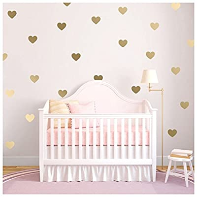 HACASO 90 PCS 1.3 by 1.1 Inches Hearts Wall Decal Sticker For Kids Bedroom Decor -DIY Home Decor Vinyl Hearts Mural Baby Nursery Room Wallpaper