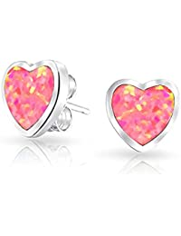 Simulated Pink Opal Inlay Heart Shaped Stud earrings 925 Sterling Silver 9mm