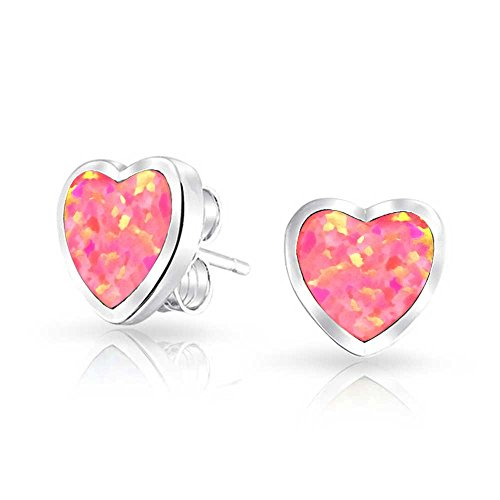 Bling Jewelry Simulated Pink Opal Inlay Heart Shaped Stud earrings 925 Sterling Silver 9mm