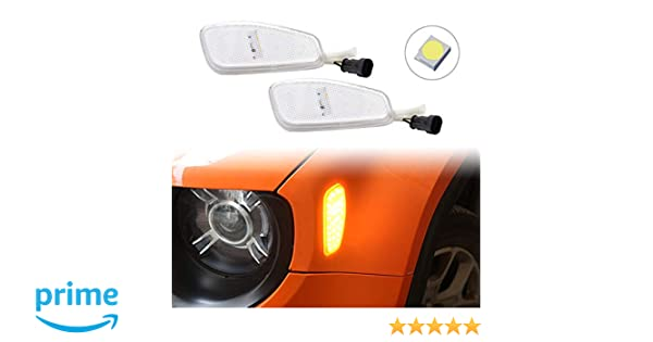 Clear Lens Amber LED Lights By GTinthebox Side Marker Turn Signal Clearance Lamps Update Kit For Jeep Renegade 2014 2015 2016 2Pack