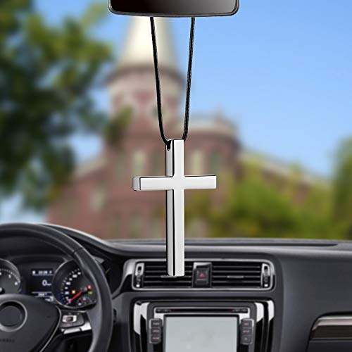 (Gold Happy Car Pendant Interior Metal Cross Jesus Christian Religious Rearview Mirror Ornament Hanging Dangle Charm Car Styling Automobiles)