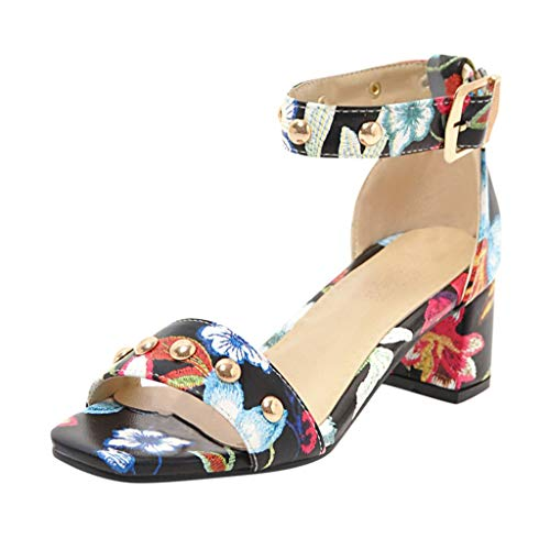 (ERLOU Womens Summer Sandals Slippers Shoes Fashion Casual Printed Sandals Casual Fish Mouth Square Open Toe Shoes (Black, 9))