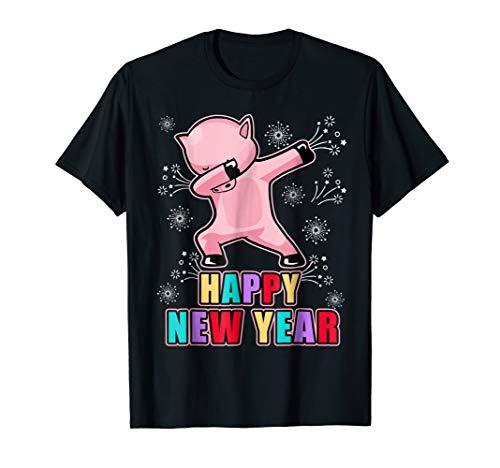 Dabbing Pig Happy New Year T-Shirt Dab Tee
