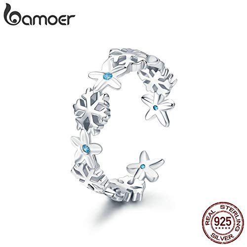 Authentic 925 Sterling Silver Winter Snowflake Finger Rings for Women | Snowflake Wedding Engagement - Winter Silver Snowflake Sterling