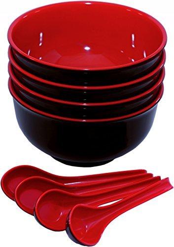 Conjunto de 4Premium cucharas para sopa (melamina, tamaño grande, cuencos y de fideos japonés–Rojo y Negro 40Onza