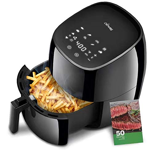 Chefway Air Fryer 7.5 Qt, XXL 1700W Electric Large Air Fryers Hot Oven Oilless Cooker, 8 Cooking Presets, Digital Screen for Fry/Roast/Bake/Dehydrate, 1 Year Warranty, W/Cookbook, Black