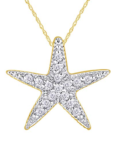 Round Cut White Natural Diamond Starfish Pendant Necklace in 14K Solid Yellow Gold (0.20 Cttw)