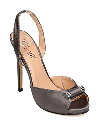 Peep Toe Dorsay Stiletto Slingback Sandal EI07 - Pewter (Size: 8.0) ()