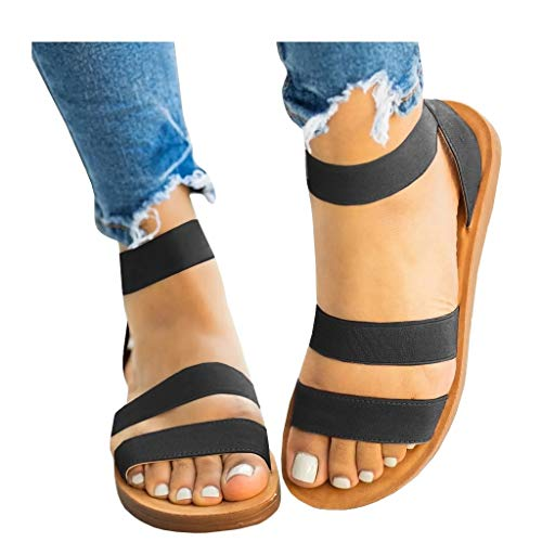 Womens Summer Flat Sandals Elastic Ankle Strap Open Toe Gladiator Comfortable Beach Shoes Black