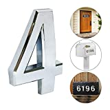 2 Packs iMustech 2-3/4 inch Self-Stick Molding Silver Number in Solid Alloy, for Door Number, Mailbox Number, House Number, Modern Hotel Number (4)