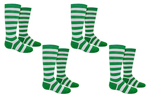 Everything Legwear Rugby Socks (Youth) - Striped Knee High Sport Novelty Socks - Fits Shoe Size: 9-3 (Kids) (Green)