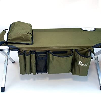 EP77-1 Earth Products Green Jamboree Military Style Folding Cot with Side Storage Bag System & Pillow