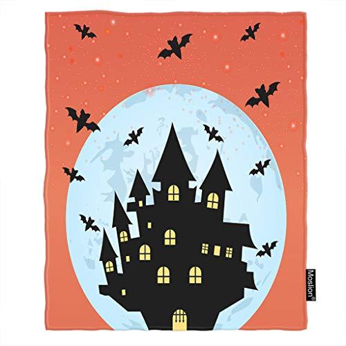 - Moslion Halloween Throw Blanket Halloween Horror Castle Witch Spider Bat Night Moon Star Blanket Home Decorative Flannel Warm Travel Blankets 30x40 Inch for Pet Dog Cat Orange Black