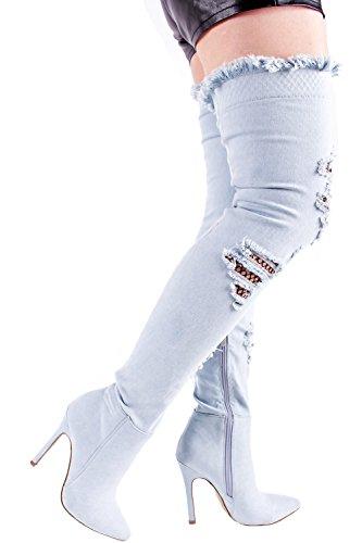 Lolli Couture Denim Poisson Design Net Côté Fermeture À Glissière Sur Le Genou Stiletto Talons Hauts Bottes Chaussures Lightbluedenim-m33-9