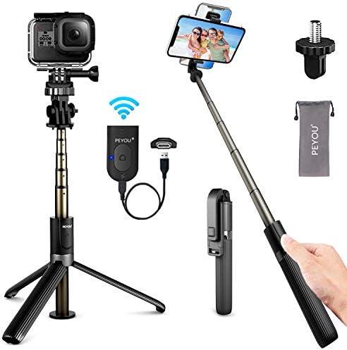 PEYOU Bluetooth Selfie Stick Stativ, [Wiederaufladbar]4 in 1 Selfiestick mit Fernauslöse,82cm Aluminium Erweiterbar Monopod Wireless Selfie-Stange Stab 360°Rotation Handyhalter für Gopro Kamera iPhone