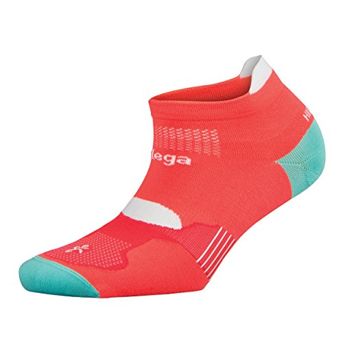Balega Hidden Dry Moisture-Wicking Socks For Men and Women (1 Pair), Neon Coral/Aqualine, Medium