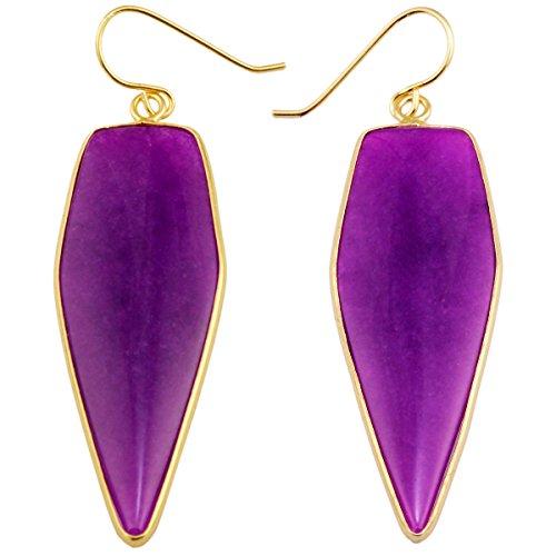 Purple Glass Teardrop Earrings - rockcloud Crystal Stone Dangle Earrings Gold Plated,Sword Shape,Purple Crystal Glass