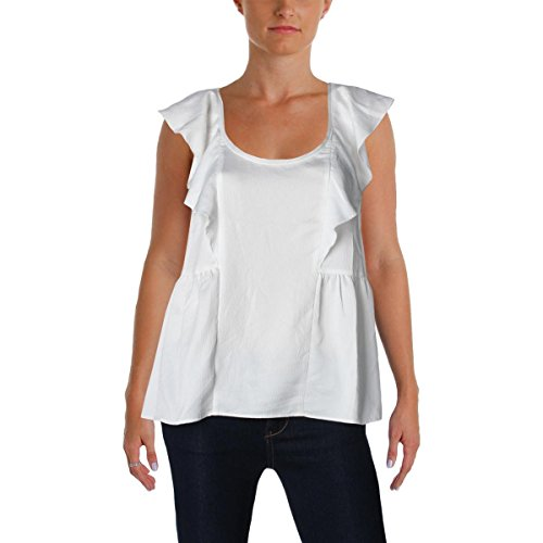 French Connection Womens Nia Ruffled Scoop Neck Blouse White (French Connection Scoop Neck)