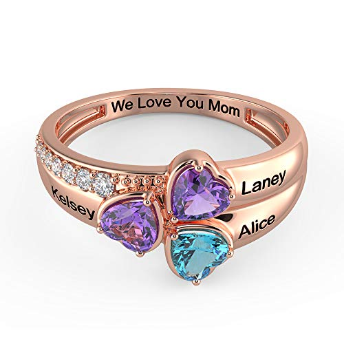 Tian Zhi Jiao Custom Mothers Ring with 3 Heart Simulated Birthstones 3 Names Engraved Grandmother Mom Rings Family Jewelry for Women (Rose Gold, 9)