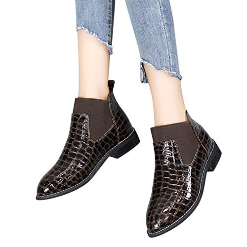 Patent Black Croc (Faionny Women Boots Wedge Ankle Boots Patent Leather Boots Platform Women Shoes Thick Heel Shoe Boots Warm Snow Boots)