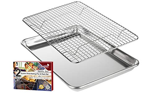 KITCHENATICS Roasting & Baking Sheet with Cooling Rack: Quarter Cookie Pan Tray with Wire Rack - 9.6